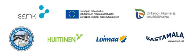 Yhteistyökumppaneiden logot: SAMK, Eu, Elykeskus, Loimaan kauppakamariosasto, Huittinen, Loimaa ja Sastamala.